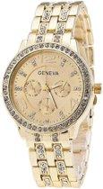 Geneva horloge - kleur goud - zirkonia steentjes in band - 38 mm - I-deLuxe verpakking