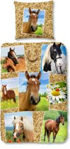 Good Morning 5752-P Paarden - kinderdekbedovertrek - 140x200/220 cm  - 100% katoen - multi
