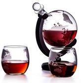 Whiskey karaf wereldbol - Whiskey set met twee glazen - Uniek cadeau - Whiskey set globe