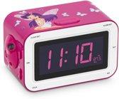 BigBen Wekker en radio met projectie - Elfje - roze