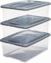 IRIS New TopBox opbergbox - 30 l - Kunststof - Transparant/Silver - 3 stuks
