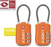 Loocz 3 Cijferig kofferslot – TSA slotje Approved – Reisslot - - Hangslot – Hangslotje – Bagageslot – Bagageslotje – USA  Amerika – Oranje 2 PACK