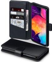 Qubits - luxe echt lederen wallet hoes - Samsung Galaxy A50 - Zwart