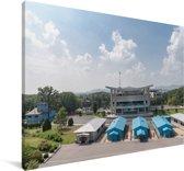 Overzicht van de DMZ in Korea Canvas 180x120 cm - Foto print op Canvas schilderij (Wanddecoratie woonkamer / slaapkamer) XXL / Groot formaat!