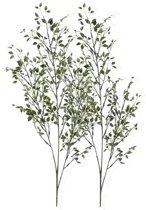 2 x Groene buxus tak 75 cm - Kunstbloemen