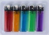 5x Gekleurde aanstekers 9 cm - Sigaretten aanstekers 5 stuks - Wegwerp aanstekers