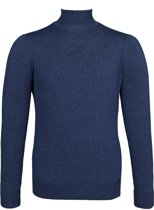 OLYMP Level 5 - heren coltrui wol - jeansblauw melange (Slim Fit) -  Maat M
