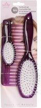 Poppen haarborstel set paars 3 delig voor kinderen