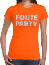 Foute Party zilveren glitter tekst t-shirt oranje dames - foute party kleding 2XL