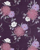 Exclusief behang bloemen EDEM 824-29 behang chrysanten paars licht paars grijs wit   70 cm