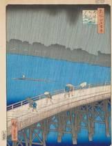 Downpour at Ohashi Bridge, Ando Hiroshige. Graph Paper Journal