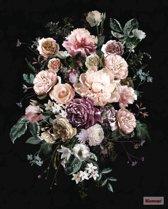 Fotobehang Charming | Grote bloemen op zwarte achtergrond