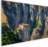 De Meteora kloosters midden in de bergen van Griekenland Plexiglas 90x60 cm - Foto print op Glas (Plexiglas wanddecoratie)