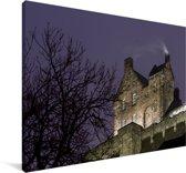 Het kasteel van Edinburgh in de avond Canvas 140x90 cm - Foto print op Canvas schilderij (Wanddecoratie woonkamer / slaapkamer)