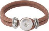 Lederen armband voor click buttons Kleur:Bruin - Lengte:23 cm