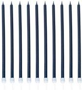 10 grote donkerblauwe kaarsjes - Feestdecoratievoorwerp