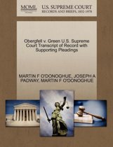 Obergfell V. Green U.S. Supreme Court Transcript of Record with Supporting Pleadings