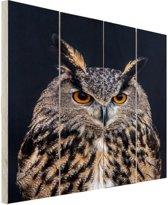 Oehoe portret Hout 20x30 cm - klein - Foto print op Hout (Wanddecoratie)