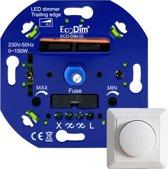LED Dimmer Inbouw - Fase Afsnijding, 0-150W, Druk- draai schakelaar, Draaidimmer voor LED Lampen, 100% Stil - EcoDim