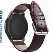 Bruin 22mm lederen bandje voor Samsung, LG, Seiko, Asus, Pebble, Huawei, Cookoo, Vostok en Vector - magneetsluiting – Brown leather smartwatch strap - Gear S3 - Zenwatch - Leer - Leder - Krokodillenleer motief - 22 mm