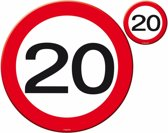 Placemats en Onderzetters 20 Jaar Verkeersbord 4 stuks