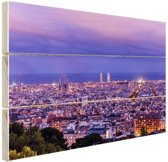 Barcelona skyline bij schemering Hout 30x20 cm - klein - Foto print op Hout (Wanddecoratie)