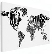 Wereldkaarten.nl - Wereldkaart zwart wit tekst op canvas voor aan de muur 60x40 cm