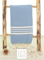 123Hamamdoek * Hamamdoek * XXL 170 x 220cm * Soft * Blauw * Extra Groot * Strandhanddoek * Strandlaken