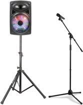 """Fenton draadloze Bluetooth geluids-, zang-, karaoke installatie met 12"""" speaker en statieven"""