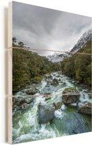 Rivier in Nationaal park Fiordland op het Zuidereiland Vurenhout met planken 60x90 cm - Foto print op Hout (Wanddecoratie)