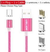Telefoon led Oplaad Kabel roze Magnetisch voor I-Phone