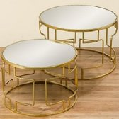 Bijzet tafel- Rond - Salon tafel - 2 set - Smeedijzer - spiegel - Ø 58cm - Ø 70cm - Goud