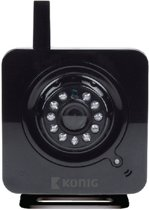 König SAS-IPCAM100B IP-beveiligingscamera Binnen kubus Zwart 640 x 480Pixels bewakingscamera