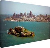 FotoCadeau.nl - Alcatraz en de skyline van San Fransisco Canvas 60x40 cm - Foto print op Canvas schilderij (Wanddecoratie)
