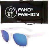 Fako Fashion® - Zonnebril - Wayfarer - Wit - Spiegel Blauw