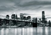 Fotobehang City Brooklyn Bridge New York City | DEUR - 211cm x 90cm | 130g/m2 Vlies