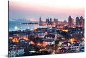 Uitzicht over Qingdao in de avond Aluminium 60x40 cm - Foto print op Aluminium (metaal wanddecoratie)