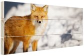 Rode vos Hout 60x40 cm - Foto print op Hout (Wanddecoratie)