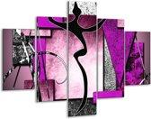 Glasschilderij Abstract | Paars, Zwart, Wit | 100x70cm 5Luik | Foto print op Glas |  F003477