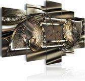 Schilderij - Gouden bonen , bruin goud look , 5 luik , 2 maten
