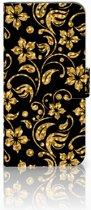 Honor View 20 Boekhoesje Design Gouden Bloemen