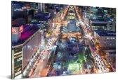 Nachtfoto van het gekleurde Odori park in Azië Aluminium 180x120 cm - Foto print op Aluminium (metaal wanddecoratie) XXL / Groot formaat!