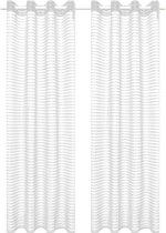 Glasgordijnen geweven gestreept 140x245 cm wit 2 st