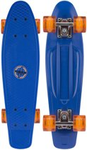 "Nijdam Kunststof Skateboard 22.5"" - LED wielen - Kobalt/Oranje"