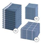 Byrklund Set Blauw - 10x Theedoek 50x70cm + 10x Keukendoek 50x50cm + 12x Vaatdoek 30x30cm