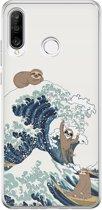 Huawei P30 Lite siliconen hoesje - Luipaard surfen
