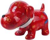 Pomme Pidou spaarpot hond Bruno - Rood met bloemen