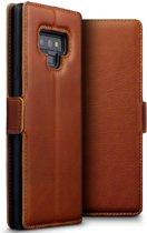 Qubits - lederen slim folio wallet hoes - Samsung Galaxy Note 9 - Cognac