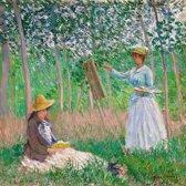 Canvas Schilderij * Claude Monet Schilderen in de Natuur * - Kunst aan je Muur - Modern Impressionisme - kleur - 60 x 60 cm