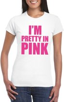 I am pretty in pink shirt wit voor dames XL